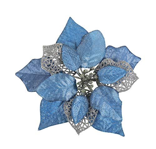 TAIELIK Poinsettia Flowers Artificial 8.6inch Glitter Christmas Tree Flowers for Christmas Tree Decorations 12Pack (Blue)