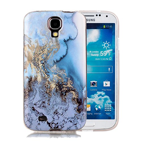 Galaxy S4 Marble Case, Harsel Ultra Thin Premium Stone Texture Collection Hybrid Flexible Light Weight Soft TPU Bumper Anti-Scratch Protective Durable Case Cover for Samsung Galaxy s4 (Luxury Blue)