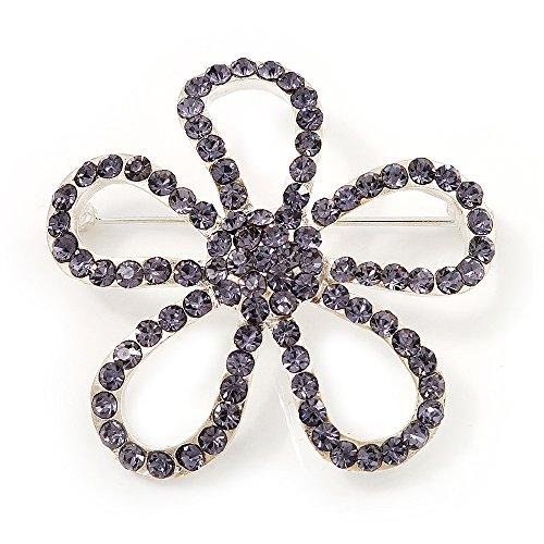 Broche de Flor abierta con cristal amatista en acabado de plata
