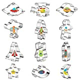 12 Pieces Space Cookie Cutters Stainless Steel...
