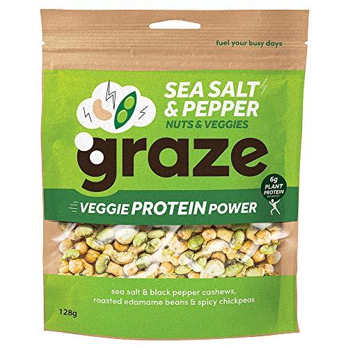 Graze Sea Salt and Pepper Veggie Protein Power Vegan Snack, 128 g