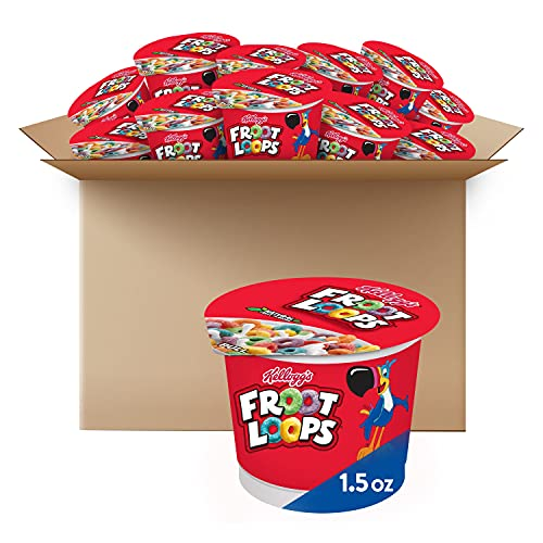 Kellogg's Froot Loops, Breakfast Cereal in a Cup, Low Fat, Bulk Size, 12 Count (Pack of 2, 9 oz Trays)