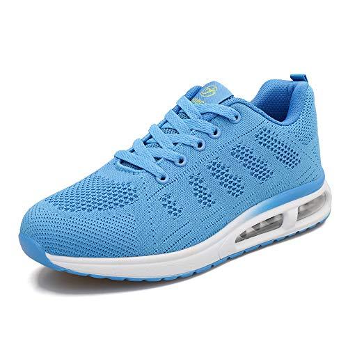 Youecci Zapatillas Deportivas de Mujer Air Cordones Zapatillas de Running Fitness Sneakers Gimnasio Zapatos Running Deportivos Correr Casual Ligero Comodos Respirable Luna Azul 40 EU