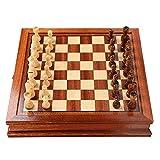 AIKY Juego de ajedrez de Lujo - Juego de ajedrez de Madera magnético con cajón de Almacenamiento - Juegos de Mesa de ajedrez de Viaje de Mesa - Juguete de ajedrez portátil para niños o Adultos