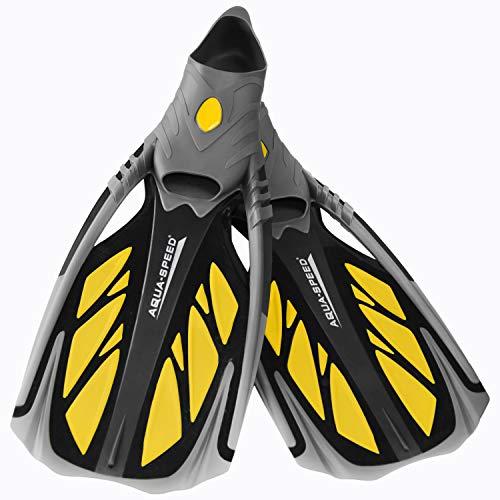 Aqua Speed INOX Unisex Flossen für bequemes Schnorcheln Tauchen Schwimmen | Taucherflossen | Schwimmflossen | Schnorchelflossen, grau/gelb, 42/43