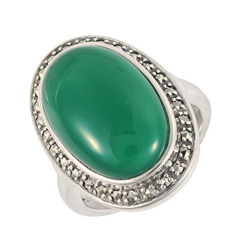 Esse Marcasite Sterling Silver Oval Green Chalcedony Statement Ring - Size O