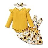 ZOEREA Conjunto Bebé Niña 6-12 meses Recien Nacido Ropa Manga Larga Mameluco con Volantes Mono Body + Falda de Tirantes Floral + Diademas Amarillo