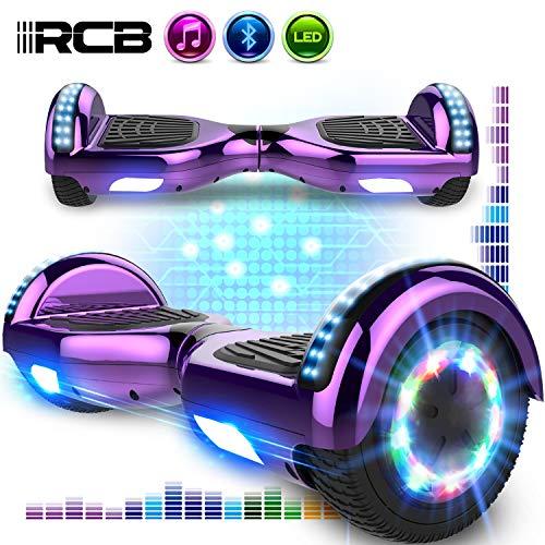 RCB Hoverboards 6,5 Zoll Elektro Skateboard für Kinder und Jugendliche Elektroroller mit Bluetooth - LED Licht Segway mit leistungsstarkem Motor 700W Geschenk für Kinder