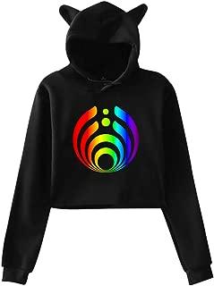 Bass-ne-ctar Warmth Rainbow Women's Youth Long Sleeve Cat Ear Hoodie Hooded Crop Top Fashion Sweatshirt