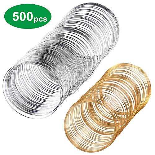 Minleer 500 Loop-Schmuckdraht-Armband, Legierung, Schmuckdraht, Draht-Manschette, Armreif, Schmuck für Draht, Schmuck, DIY Zubehör (Silber und Gold)