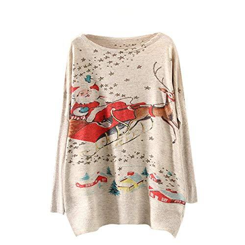ZODOF Jersey Navidad Mujer Batwing navideño Manga Larga Color Suelto Tejer Suéter Prendas de Punto Tops Sueter...