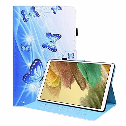 Kompatible für Tablet Hülle Samsung Galaxy Tab A 10.1 2016 SM-T580/T585 Case PU Leder Tasche Schutzhülle Muster Flip Cover Abdeckung Klapphülle Ständer Fächer Magnet Deckel Schale Blauer Schmetterling