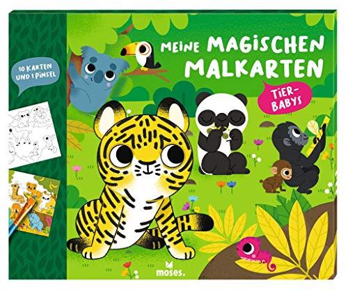 Moses. 3101 Meine magischen Tierbabys | 10 Wasserzeichnung Malkarten mit Pinsel | Malset unendlich wiederverwendbar | Für Kinder ab 4 Jahren, bunt