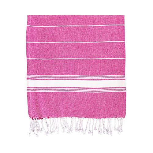 Nicola Spring Badetuch im türkischen Stil - Pestemal/Hamam-Tuch - 100% Baumwolle - traditionelles Design - Rosa