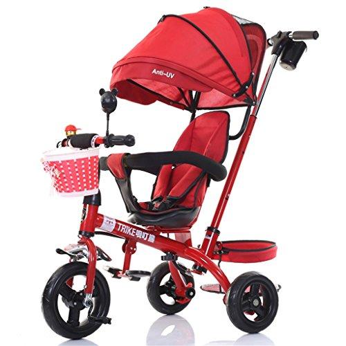 Patrulla de la Pata del Triciclo 4-in-1 Child, Trolley de la Bicicleta Trikes de la Empuje del bebé para la Bici de la Rueda del bebé 3 con la manija del Padre (Rojo) (Color : B)