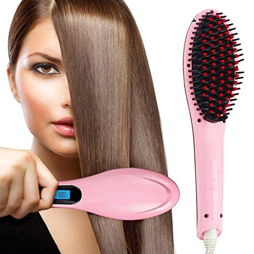 BuyStack 3 in 1 Ceramic Fast Hair Electric Comb Brush Straightener with LCD Screen, Temperature Control Display for Women (Pink)