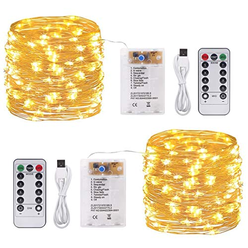 SanGlory 2 Pezzi 10M 100 LED Catene Luminose Luci Natale USB e Batteria,Impermeabile Filo d'argento Luci Stringa con telecomando per Decorazioni Interno ed Esterno,Bianco Caldo 8 Modalità