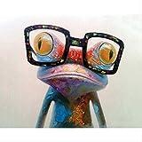 N/C Kits de Pintura por números para Adultos y niños Pinturas acrílicas Set DIY Lienzo Kits de Regalo de Pintura al óleo Decoración del hogar-Una Rana con Gafas 16 * 20 Inch