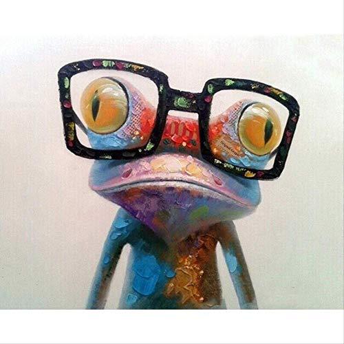 N/C Malen nach Zahlen Kits für Erwachsene und Kinder Acrylfarben Set DIY Leinwand Ölgemälde Geschenk-Kits Home Decoration-A Frosch mit Brille 16 * 20 inch