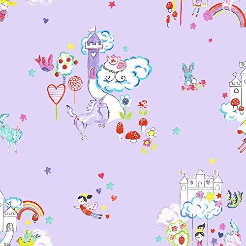 Papier peint motif licornes et châteaux de princesse, cœurs, étoiles, fleurs, pour chambre de fille, lilas