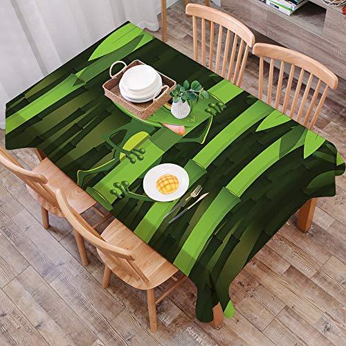 Tischdecke abwaschbar 140x200 cm,Tierischer grüner Frosch, lustige Illustration des freundlichen Spaß-Frosches auf Stamm der Bambusd,Ölfeste Tischdecke, geeignet für die Dekoration von Küchen zu Hause