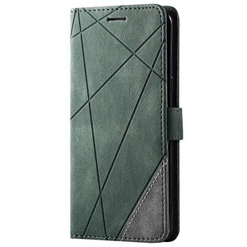 PHONETABLETCASE+ / Compatible with Compatible with SAMSUNG Galaxy S8 Plusスキンフィールスプライシング水平フリップレザーケースホルダー&カードスロット&財布&フォトフレーム 、耐衝撃性および耐スクラッチ防止カバー保護 (Color : Green)