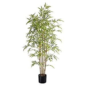 Artificial Bamboo Trees Bambusa Plant – 5 Feet Tall Faux Potted Indoor Floor Plants for Home Office Decor Lifelike with 5 Trunk