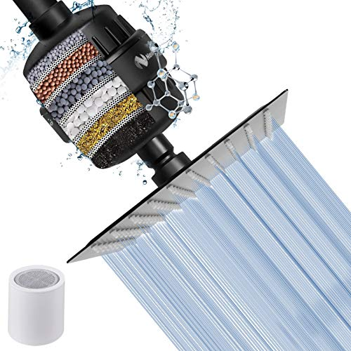 NearMoon Square Shower Head and 15 Stage Shower Filter Combo, High Pressure Filtered Showerhead for Hard Water, Improves the Condition of Your Skin, Hair - 1 Replace Filter Cartridge (Matte Black)