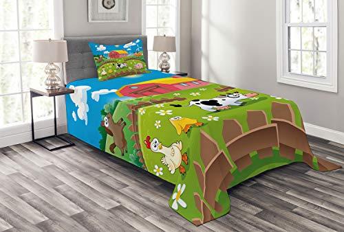 Lunarable Cartoon-Tagesdecke, Bauernhof mit Kuh, Fuchs, Huhn, Schwein, Pferd in den Zäunen, ländliche Kinder, dekoratives gestepptes 2-teiliges Bettbezug-Set mit Kissenbezug, Doppelgröße, dunkelrosa