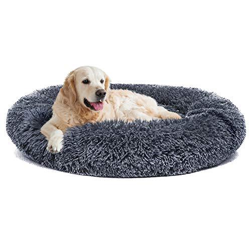 nononfish Anxiety Dog Bed and Grey Dog Calming Manta Set Cómodo Donut Cuddler Cama para Mascotas para Alivio ortopédico, Mejora del sueño, parte inferior impermeable (XL-48, gris oscuro)