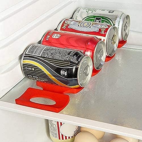 2 juegos de estantes plegables de silicona antideslizantes organizador de estantes de cerveza, almohadilla de apilamiento de botellas para latas de cerveza/cola/alimentos - hasta 15 botellas (rojo