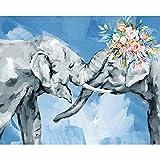 HQKNIGHT Kits de Pintura por Números con Pinceles y Pigmento Acrílico Pintura de DIY en Lienzo para Adultos Pareja Azul Elefantes Decoración de la Pared del Hogar sin Marco