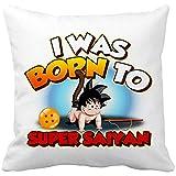Diver Bebé Cojín con Relleno I Was Born to Super Saiyan Parodia Baby Goku - Blanco, 35 x 35 cm