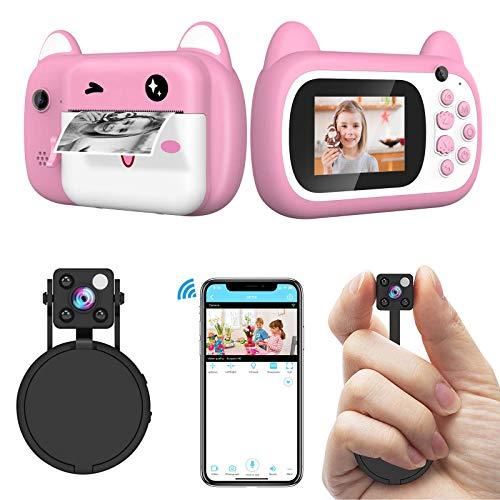 Relohas 1080P Multi-Functional Mini NannyCamera+1080P Kids Instant Print Camera