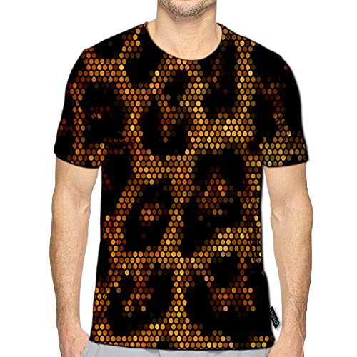 YILINGER T-Shirt 3D Printed Leopard Mosaic Casual Tees a