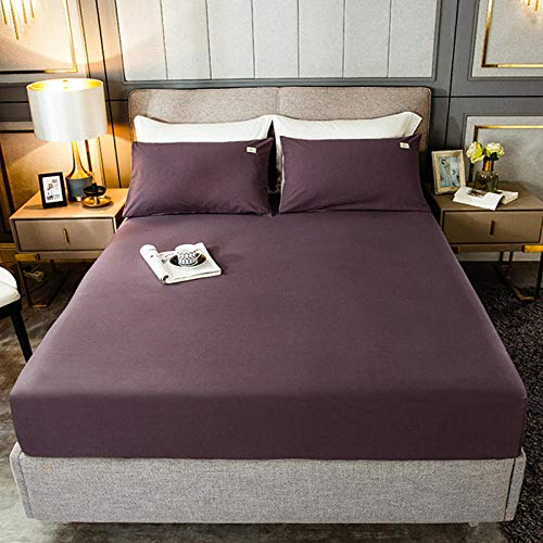 YFGY Fitted Sheet Deep Pocket single,Cotton Fitted Sheet Mattress Cover Solid Color, Bedding Linens Bed Sheets With Elastic Dust Cover All-Inclusive purple 90 * 200cm