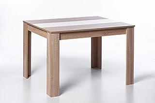 Woodfurniture Nico Table de salle à manger en bois clair avec plateau réversible (noir et blanc), pour 4 à 6 personnes, lo...