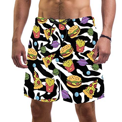 Pantalones cortos de playa de surf para hombre, de secado rápido, con bolsillo, hamburguesa, papas fritas
