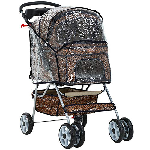 Leopard Skin 4 Wheels Pet Dog Cat Stroller w/RainCover