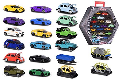 Majorette 212058595 - Set di 20 pezzi con auto di Street Cars, stile vintage e Explorer, ruota libera e sospensione, scala 1:64, 7,5 cm, con scatola