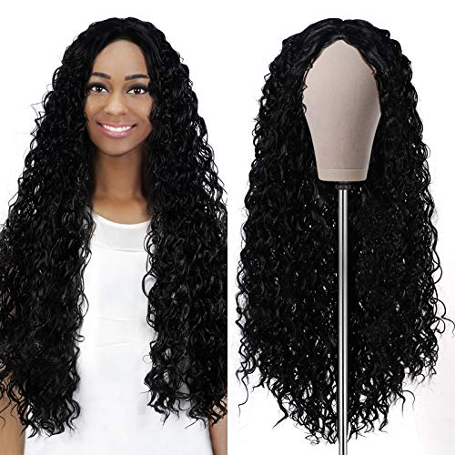Curly Wigs for Black Women Water Wave Wig Deep Wave Wig Brazilian Wet and Wavy Wig with Rose Intranet Curly Hair Wig Heat Resistant Fiber Pre Plucked Natural Hairline Wigs, 24'' Black