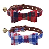 PUPTECK 2 Pack Adjustable Bowtie Small Dog Collar with Bell Charm 8-10