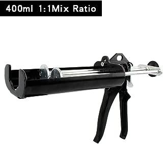Manual Epoxy Applicator Gun 400 mL/13.5 fl oz (1:1 Mix Ratio) Dual Component Adhesive Cartridge Applicator Double Caulk Gun 2 Part Caulking Gun (Obsidian Black)