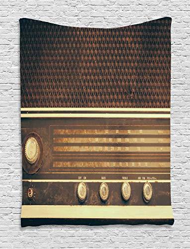 ABAKUHAUS Vintage Tapiz de Pared, Antiguo Retro Estilo Años 60 Radio Tocadiscos...