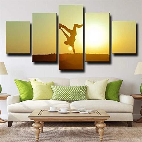 KOPASD Cuadro Moderno 5 Piezas ImpresióN Lienzo Silhouette Dance Sunset De Pared Arte Pintura para Hogar SalóN Oficina (Sin tamaño de Marco 150x80cm)