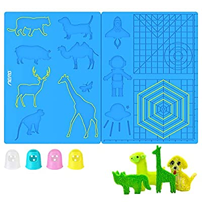 Aerb 3D Pen Mat, Large Multi-Shaped Silicone 3D Printing Pen Basic Template Printing Mat with 4 Finger Protectors, Gift for 3D Beginners/Kids/Adults (16.2 * 8.2inch)