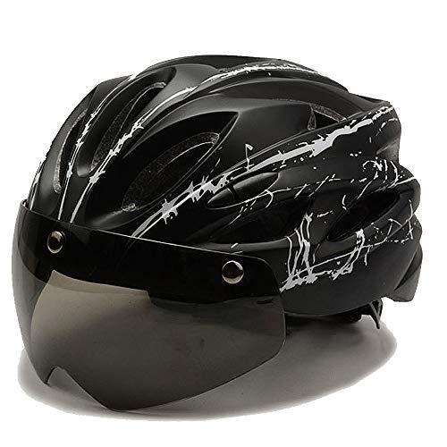 TTBF Casco para Bicicleta Magnético con Gafas Desmontables Pantalla Protectora Ciclismo Ajustable...