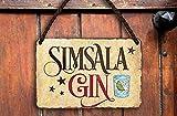 Targa in metallo divertente Gin Tonic con scritta 'Simsala Gin Gin Tonic', idea regalo per compleanno, Natale, cocktail, long drink, bevande alcoliche, 18 x 12 cm
