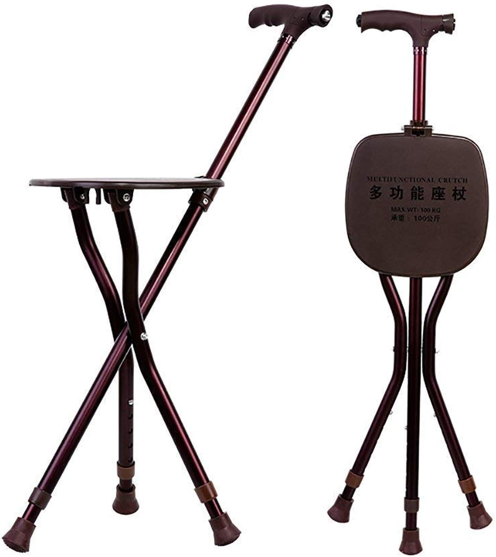 Walking Stick SEAT Folding Cane Seat Three Leg Walking Stick with seat Adjustable Height LED Lights