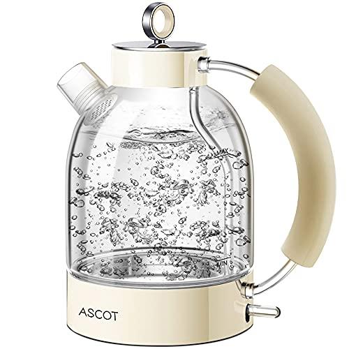 Wasserkocher Glas, ASCOT 2200 W, 1,6 liter, Elektrischer Wasserkessel, Edelstahl, Retro Design, kabelloser Teekocher, BPA frei, Trockengehschutz, Automatische Abschaltung-Beige